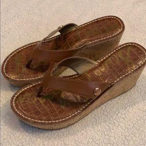 Sam Edelman Romy Brown Thong Wedge Sandals